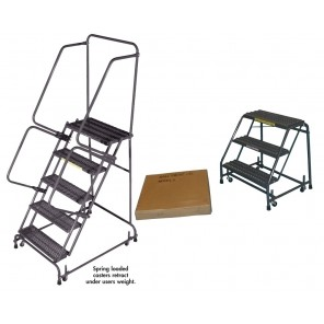 "SPRING LOADED CASTERS LADDERS, Tread: Abrasive Mat, Handrails: No Handrails, Step Width: 16"", Steps: 1, Top Step Height: 12"", Overall Height: 12"", Base W x L: 18 x 16"""