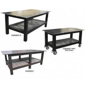 "HEAVY DUTY WELDING TABLES, Size W x D x H: 144 x 48 x 36"", Top: 1/2"", Optional Casters: Included"