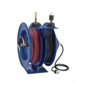 """AIR/ELECTRIC COMBO REELS, Included Accessory: Duplex GFCI Industrial Receptacle, AWG: 16 ga., Conductors Length: 3-50', Amps: 13, Size W x H x L: 16 x 18-5/8 x 17"""""""