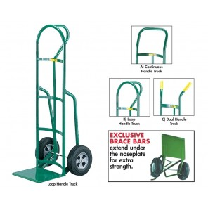 "12""D. REINFORCED NOSE PLATE HAND TRUCK, Handle: A) Continuous Back Handle, Frame Height: 47"", Wheel 10 x 2-3/4"" solid rubber, Cap. (lbs.): 800"
