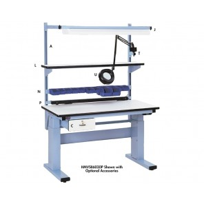 """ELECTRIC HEIGHT ADJUSTABLE WORKBENCHES, Size L x W: 60 x 30"""", Adj. Height: 30-1/2 - 46-1/2"""", Top Work Surface: ESD Laminate"""