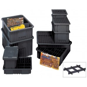 """CONDUCTIVE DIVIDABLE GRID CONTAINERS, Outside Dim. L x W x H: 10-7/8 x 8-1/4 x 3-1/2"""", Inside Dim. L x W x H: 9-3/16 x 6-9/16 x 4-12"""", Cu. Cap.: 0.1"""