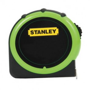 Stanley® 30-305 Hi Visibility Tape Rule, 1 in W x 25 ft L Blade, Polymer Coated Steel, Imperial, 1/16ths, 1/32nds