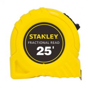 Stanley® 30-454 Fractional Tape Rule, 1 in W x 25 ft L Blade, Polymer Coated Steel, SAE, 1/16ths