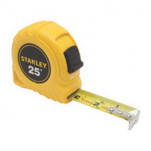 Stanley® 30-455 Tape Rule, 1 in W x 25 ft L Blade, Polymer Coated Steel, SAE, 1/16ths