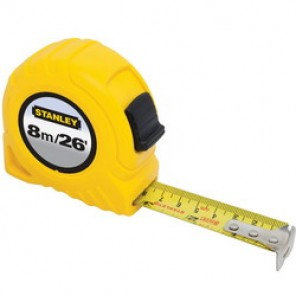 Stanley® 30-456 Tape Rule, 1 in W x 26 ft L Blade, Polymer Coated Steel, Metric/SAE, 1/16ths, 1/32nds