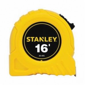 Stanley® 30-495 Tape Rule, 3/4 in W x 16 ft L Blade, Polymer Coated Steel, SAE, 1/16ths, 1/32nds