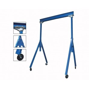 """ADJUSTABLE & FIXED STEEL GANTRY CRANES, Height: Adjustable, Cap. (lbs.): 2000, Beam Length Deduct 12"""" for distance between uprights.: 10', Beam Height: 6"""", Under I-Beam Height to ground for Fixed: 7'6""""-12', Base Width: 76-1/8"""""""