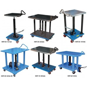 "1, 2 or 4 POST HYDRAULIC LIFT TABLES, Cap. (lbs.): 1000, Raised Height: 54"", Lowered Height: 36"", Platform Size W x L: 20 x 36"", Operation: Foot Pump, Number of Addt'l Posts: 2, Speed: Two"