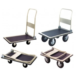 "STEEL FOLDING HANDLE TRUCKS, Deck Size W x L: 23 x 35"", Cap. (lbs.): 600, Caster Size: 5"" Rubber"